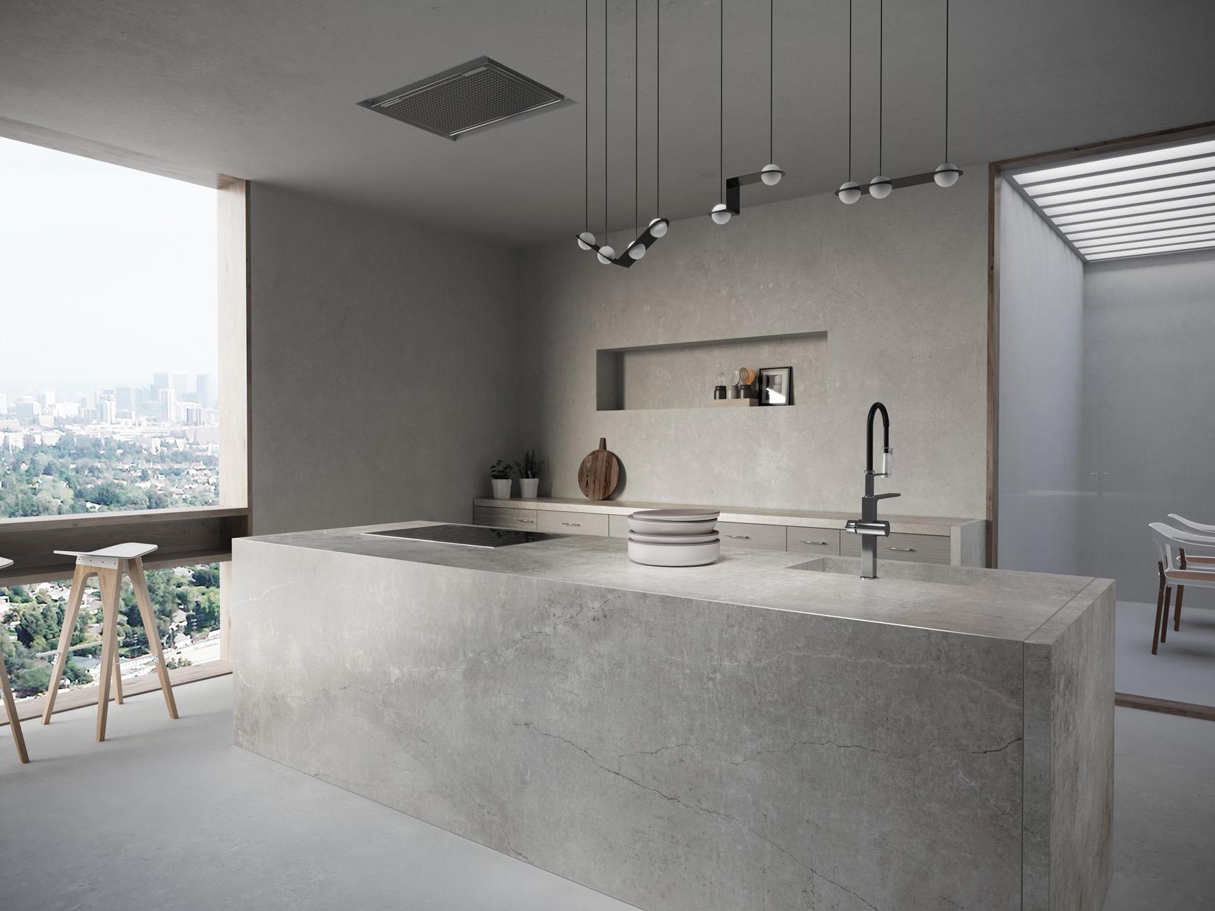 Beton- en cementkleuren zijn populair voor de keuken. De Dekton® Industrial Collection wordt gekenmerkt door stoere, urban kleuren. Met de kleuren Laos, Soke, Kreta en Lunar wordt deze collectie uitgebreid met vier betonlook kleuren #cosentino #dekton #arte #keuken #keukeninspiratie #beton #industrieel