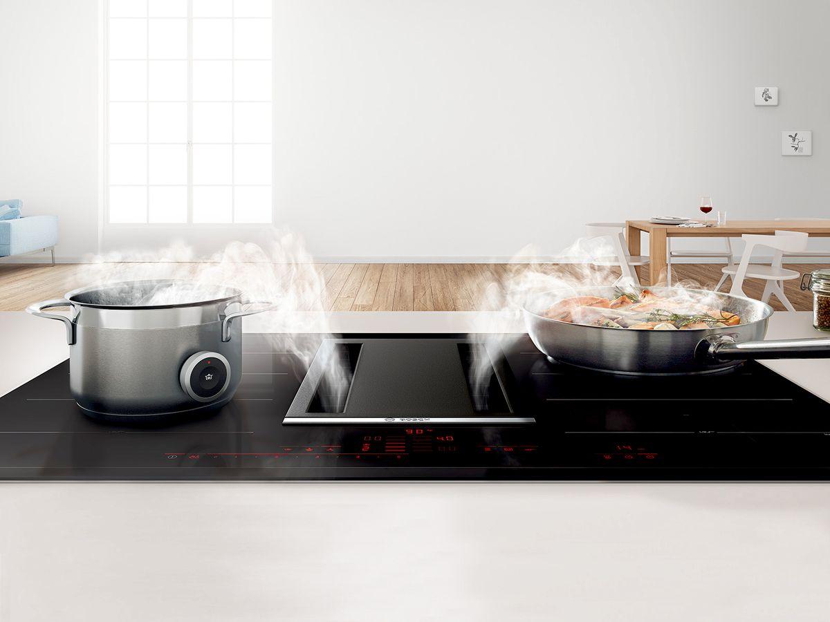 Bosch kookplaten inductie met geïntegreerde afzuiging #koken #kookeiland #kookplaat #inductie #bosch
