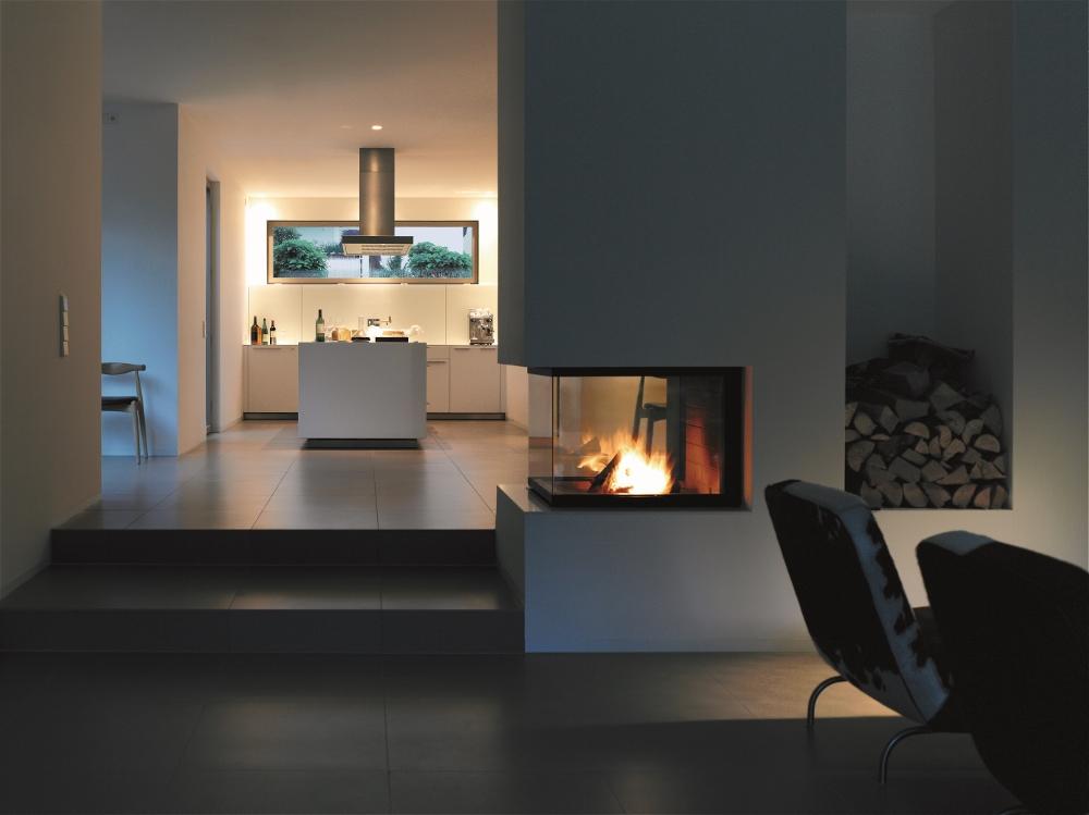 Een haard of houtkachel in de keuken wonen - Open keuken m ...