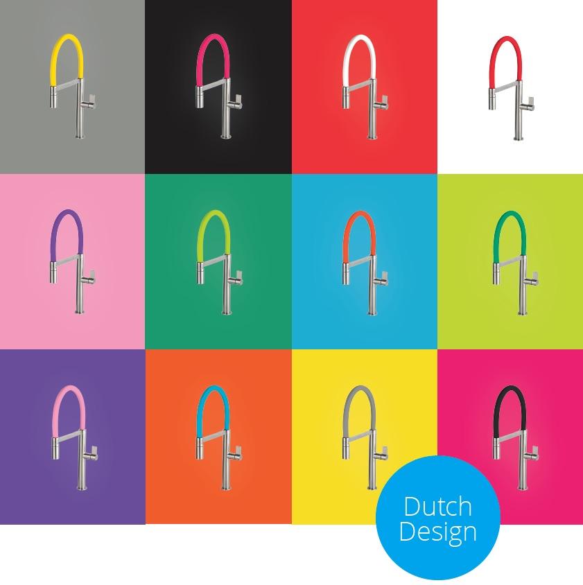 RVS keukenkranen in twaalf verschillende kleuren en drie verschillende maten #caressi #kleur #keuken #kraan