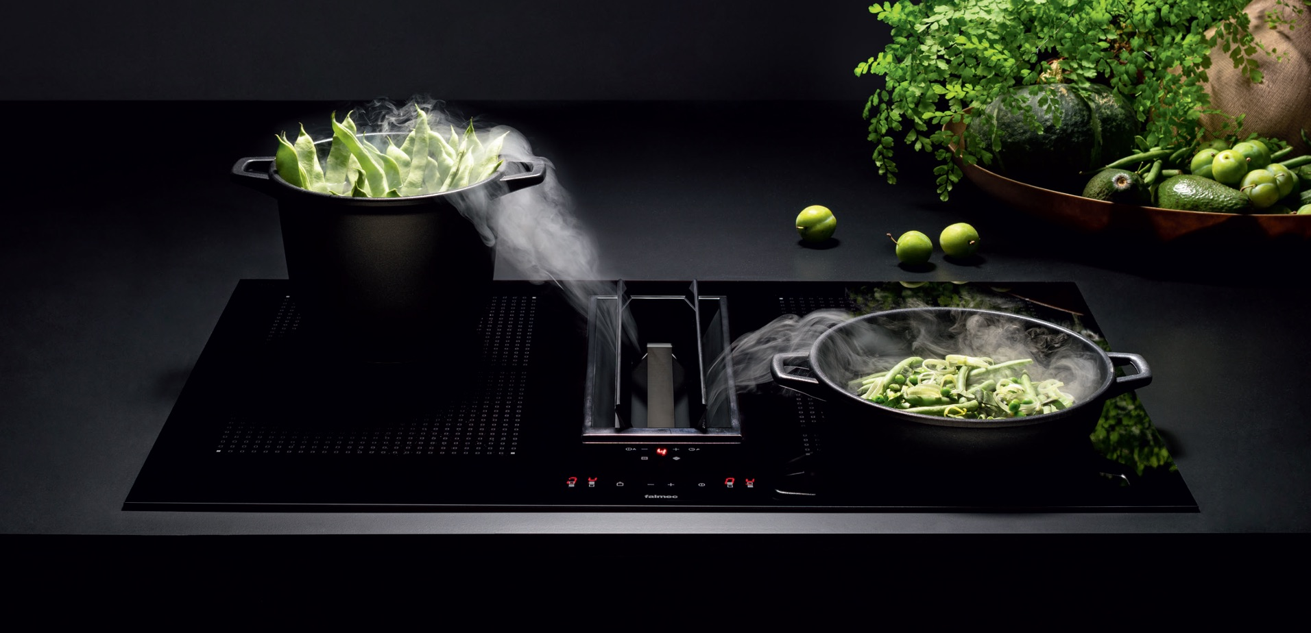 Inductie kookplaat met geintegreerde kookafzuiging. Falmec Quantum Easy #falmec #kookplaat #inductie #afzuiging #kookeiland