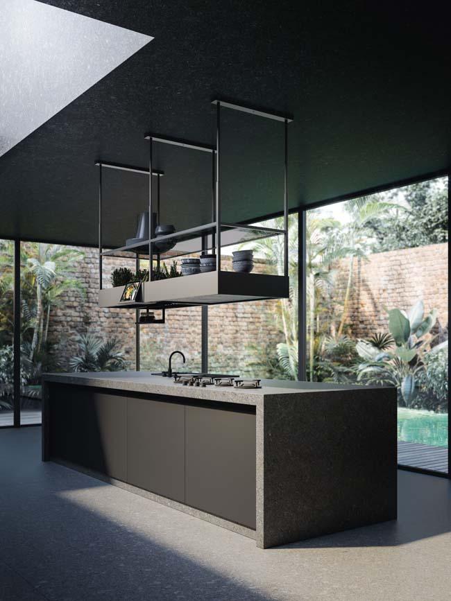 Zwevende design-afzuigkap boven kookeiland. Spazio van Falmec. #keuken #keukendesign #afzuigkap #falmec #spazio