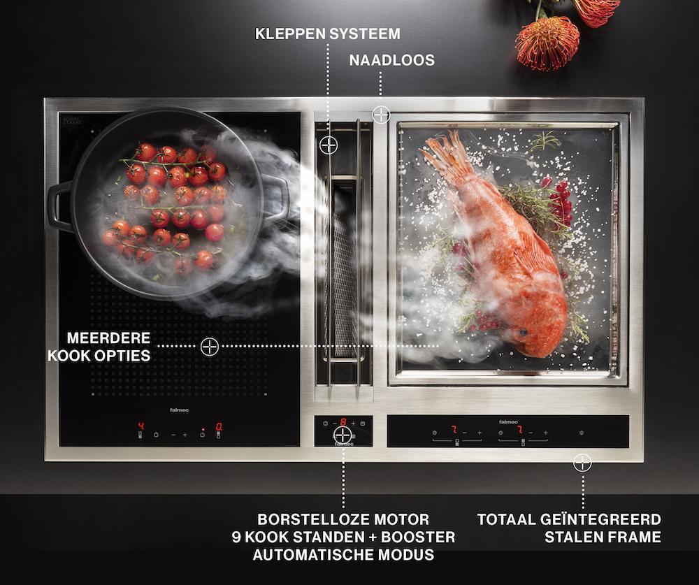 Falmec Modula kooksysteem. Innvatieve kookplaat inductie met geïntegreerde afzuiging #kookplaat #kooksysteem #falmec #keuken #inductie