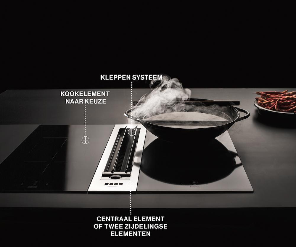 Falmec Piano kooksysteem. Innvatieve kookplaat inductie met geïntegreerde afzuiging #kookplaat #kooksysteem #falmec #keuken #inductie