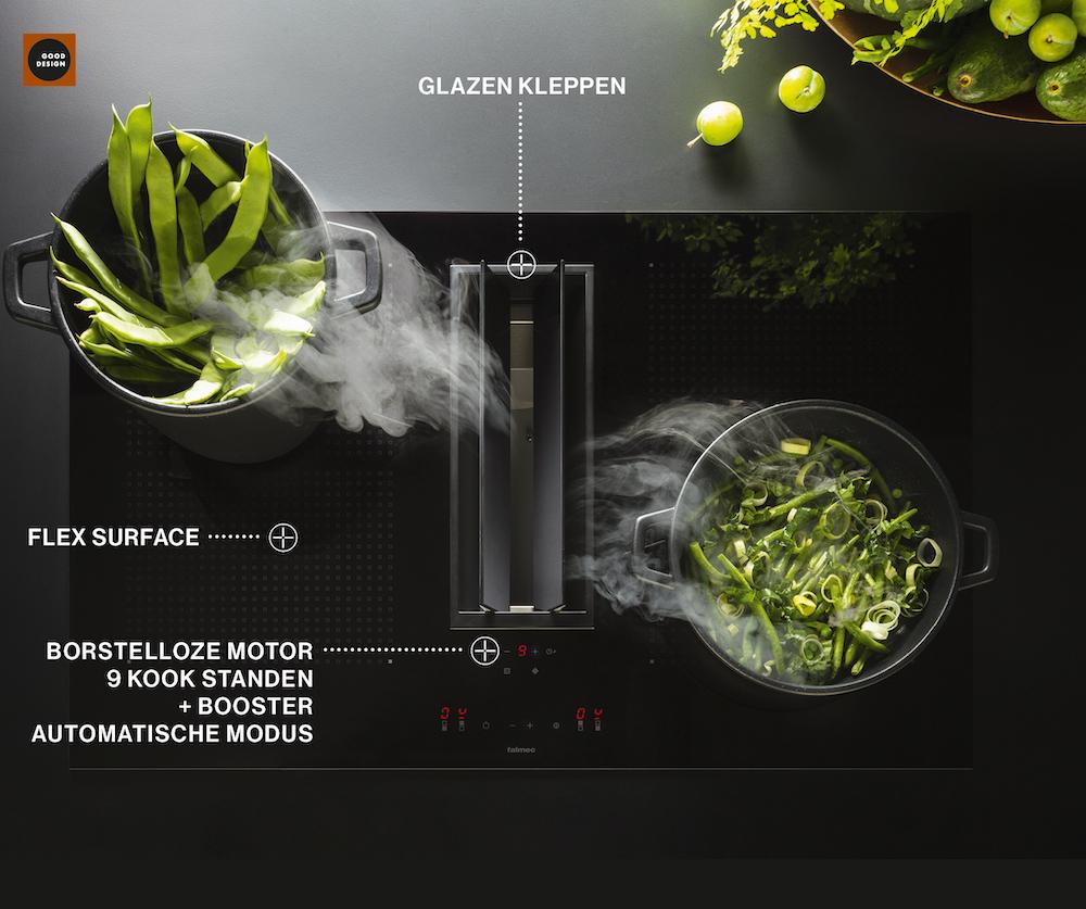 Falmec Quantum kooksysteem. Innvatieve kookplaat inductie met geïntegreerde afzuiging #kookplaat #kooksysteem #falmec #keuken #inductie
