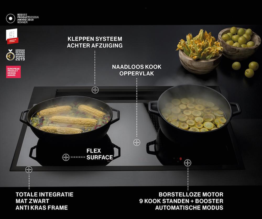Falmec Sintesi kooksysteem. Innvatieve kookplaat inductie met geïntegreerde afzuiging #kookplaat #kooksysteem #falmec #keuken #inductie