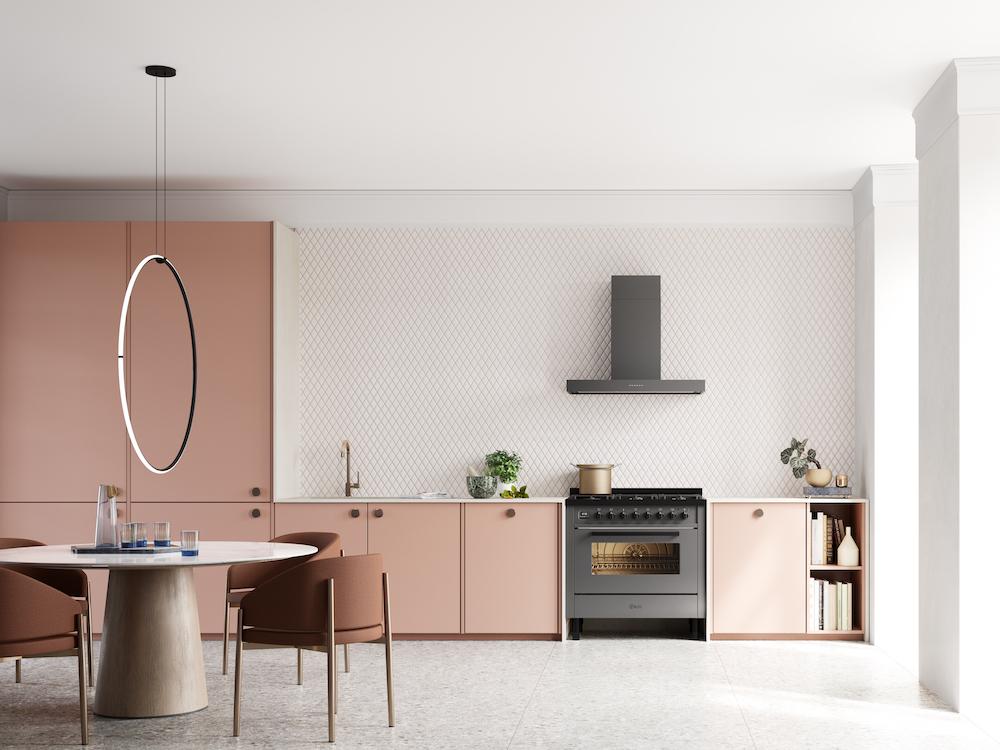 Vrijstaand fornuis in moderne keuken. ILVE fornuis Pro Line #keukentrend #keuken #keukeninspiratie #ILVE #fornuis #proline #kleurindeleuken
