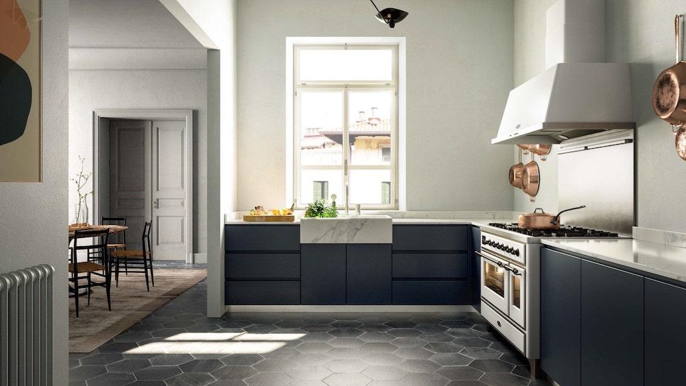 Vrijstaand fornuis in keuken. ILVE Majestic #ILVE #fornuis #keuken #keukeninspiratie