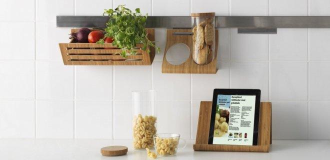 bamboe keukenaccessoires van Ikea - tablet houder