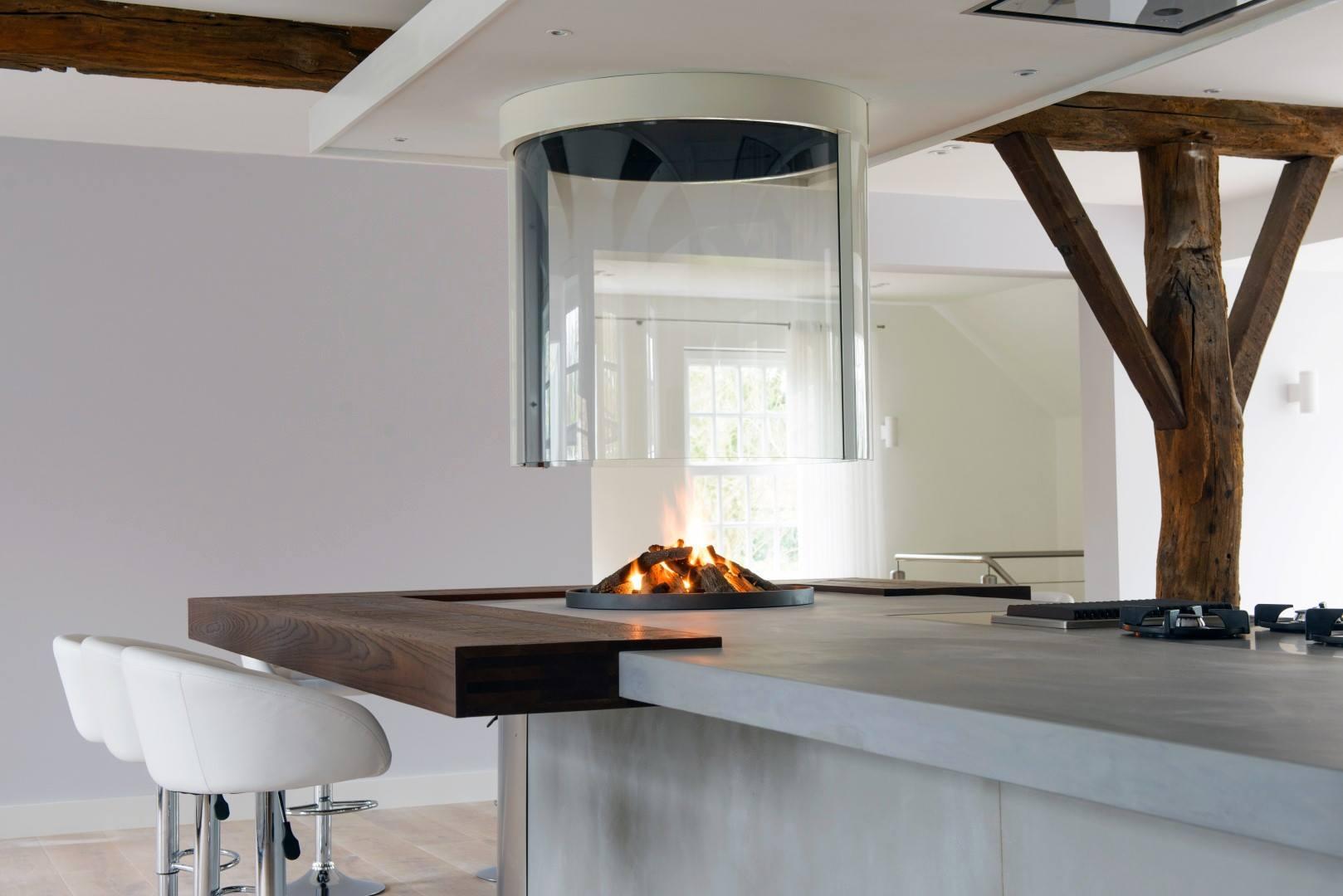 Houten keuken beton haard pitt cooking van JP Walker