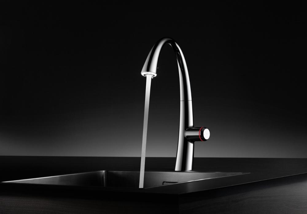 De KWC ZOE touch light PRO keuken mengkraan van Franke is een elektronisch aangestuurde mengkraan die met slechts een vingertip te bedienen is.