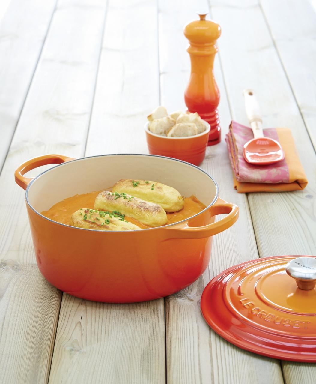 Le Creuset pan oranje
