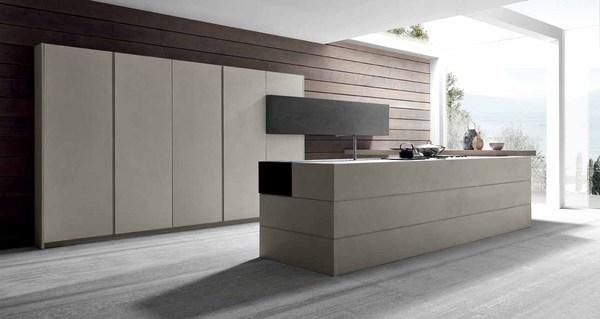 Moderne houten keuken met industriële uitstraling en betonlook - Modulnova Twenty Cemento