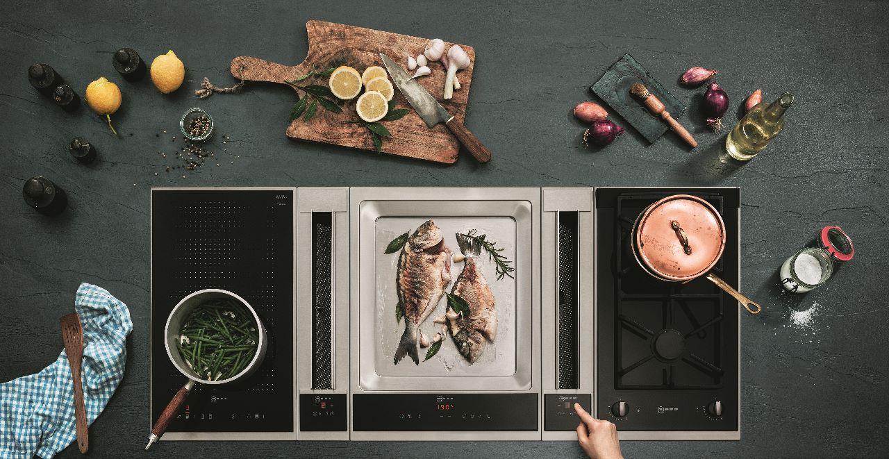 Ventilatiesysteem keuken. Innovatief afzuigsysteem kookeiland kookplaten Neff