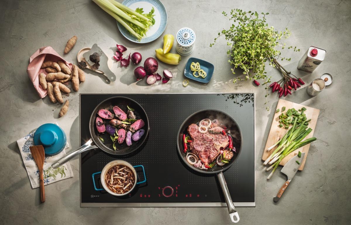 Neff inductie kookplaat met flexzones en handige bediening. Ook geschikt om te grillen en voor teppanyak