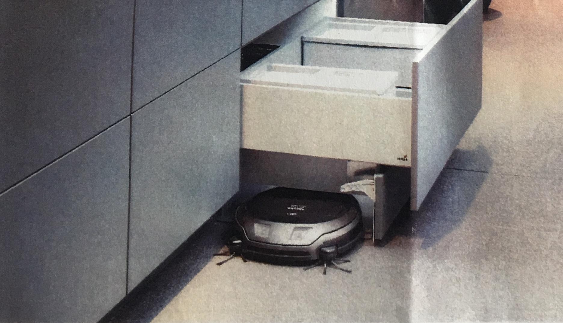 Keuken in een Smart Home: Miele robot stofzuiger start vanuit eigen keukenlade in Poggenpohl kkeuken. Kuchenmeile #miele #poggenpohl #smarthome #keuken #keukeninspiratie