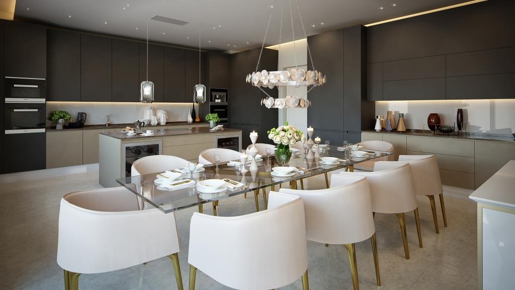 Exlusieve designkeuken van Poggenpohl in luxe penthouse in het Oceanic House in Londen #designkeuken #woonkeuken #kookeiland #design #poggenpohl