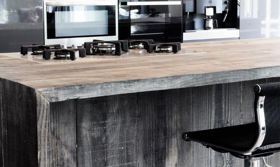 Sloophouten keuken kookeiland RestyleXL Barnwood