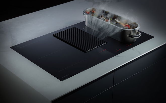 Samsung inductie kookplaat met geintegreerde kookafzuiging #inductie #samsung #kookplaat