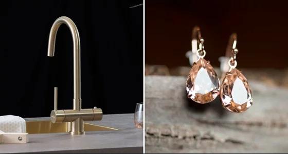 Modetrends in de keuken: voeg wat glamour toe. Steel Gold kokendwaterkraan Selsiuz #keuken #keukeninspiratie #glamour #kokendwaterkraan #selsiuz