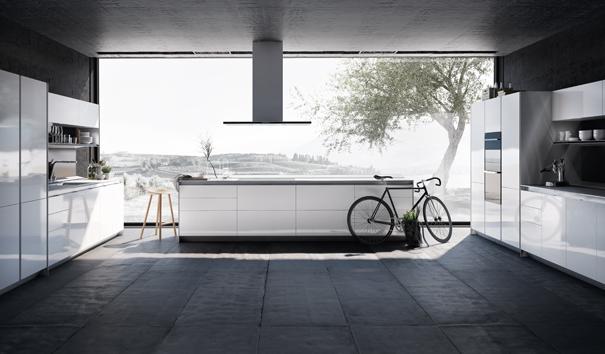 Witte keuken met greeploze kasten en kookeiland - SieMatic S1 Lifestyle PURE