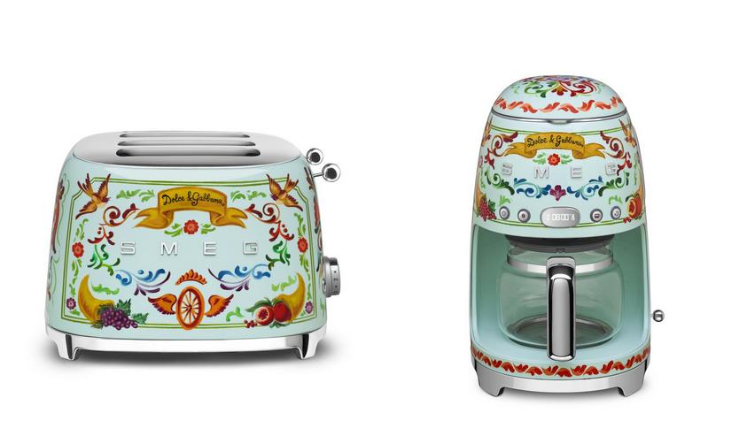 Smeg broodrooster, koffiezetapparaat in samenwerking met Dolce & Gabbana #keuken #koffie #madeinitaly #smeglove #smeg #dolcegabbana