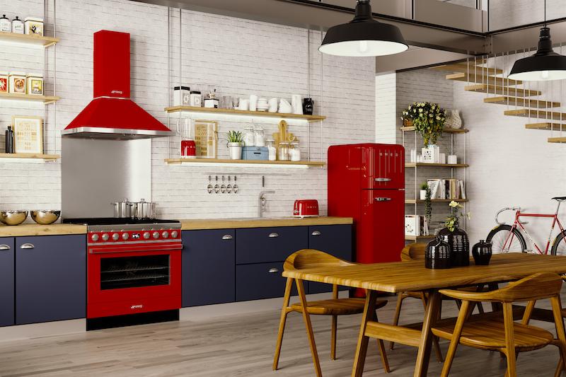 Smeg fornuis portofino met bijpassende afzuigkap in het rood #smeg #smeglove #keuken #rood