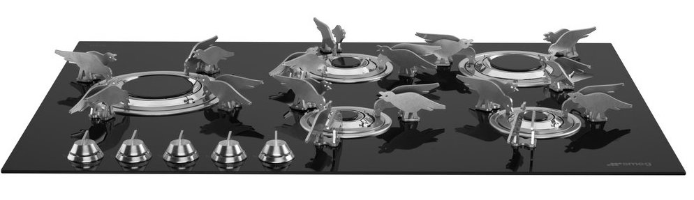 Gaskookplaat met design pannendragers - Smeg Dolce Stil Novo