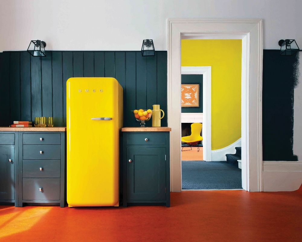 Smeg FAB28 koelkast geel