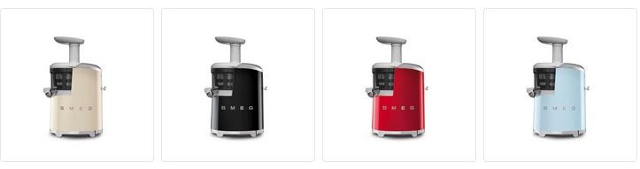 SMEG Slowjuicer in jaren 50 design. Verkrijgbaar in vier kleuren: creme, zwart, rood, pastelblauw