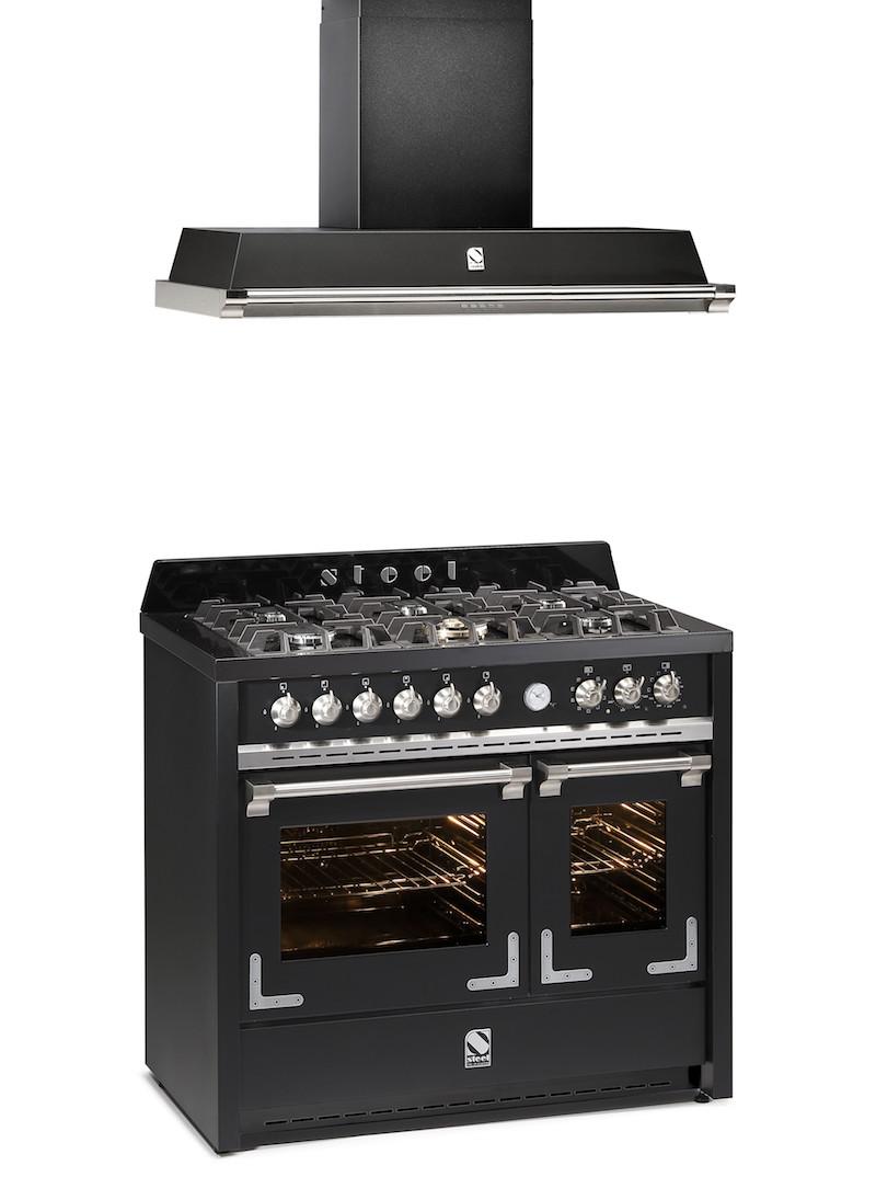 Steel fornuis Oxford met twee ovens en bijpassende Steel afzuigkap #fornuis #steel #keuken