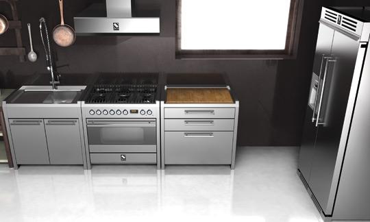 Italiaans fornuis Genesi van Steel met bijpassende keukenmodules #keuken #fornuis #italiandesign #steel
