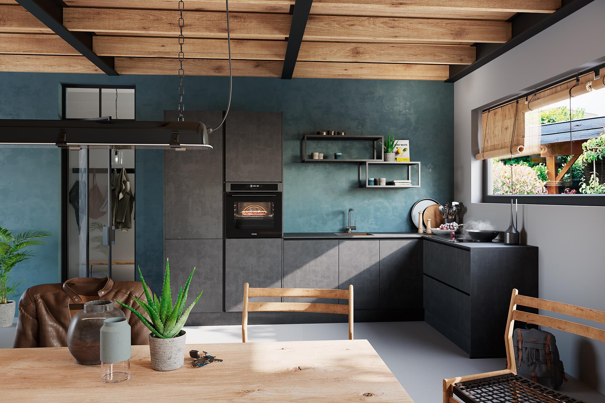 Grijze keuken met betonlook van Superkeukens. Rodez Beton Terra Grau #keuken #keukeninspiratie #superkeukens #keukentrends #grijzekeuken #keukeninspiratie