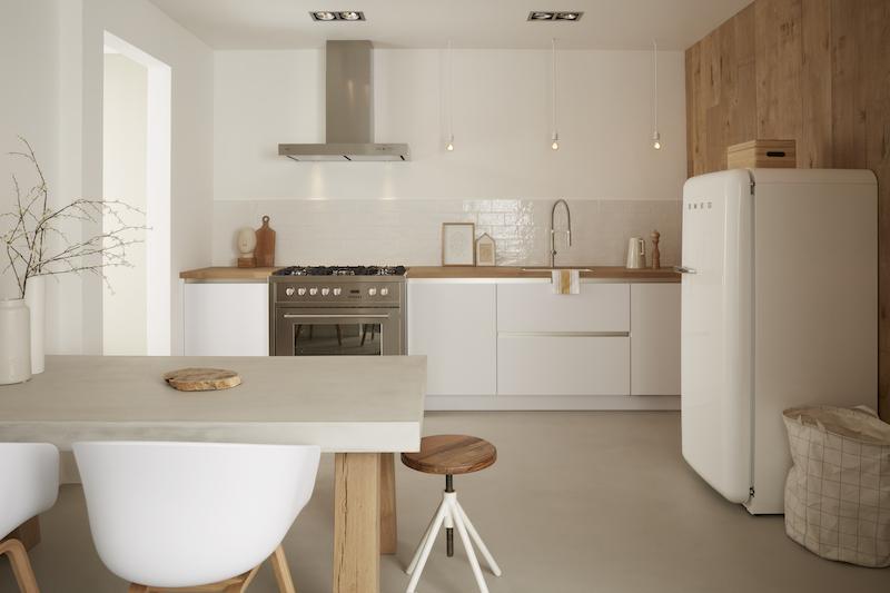 Keuken in Scandinavische woonstijl. Witte keuken met houten elementen. Keller keuken GL5100 in zijdeglanslak #scandinavischewoonstijl #keuken #keukeninspiratie #wittekeuken #kellerkeukens