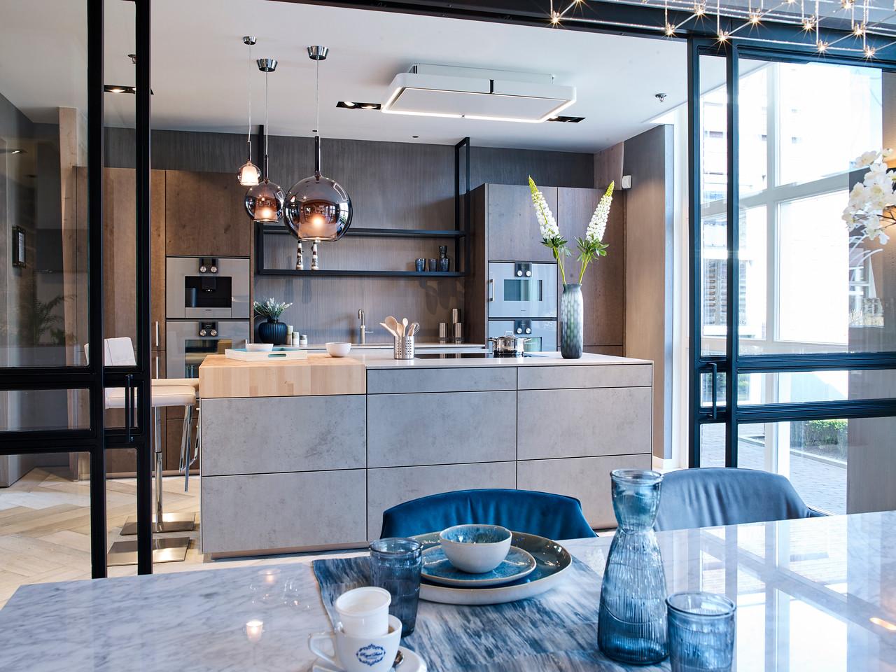 Designkeuken met hout en betonlook. next125 keuken NX950 NX620 #keuken #designkeuken #next125 #betonlook #keuken
