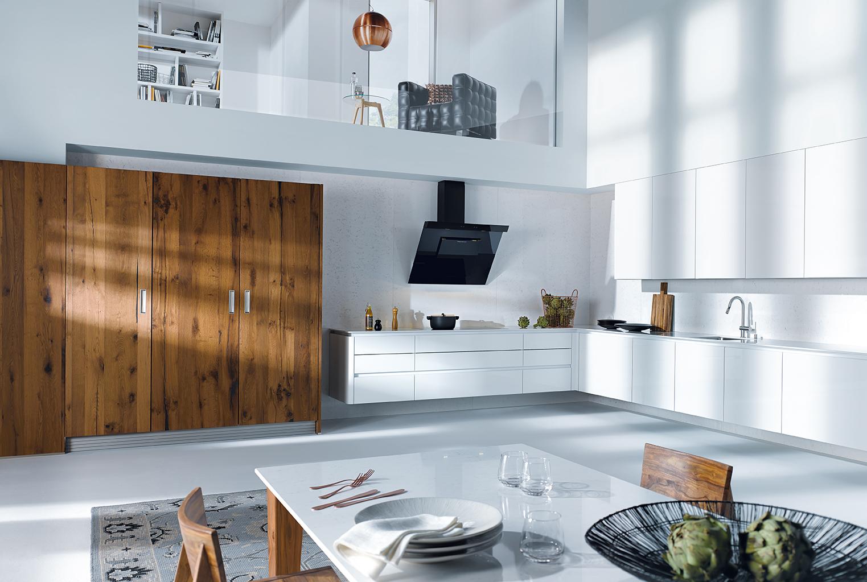 Modern design - keuken NX501 in kristalwit met warm eiken next125