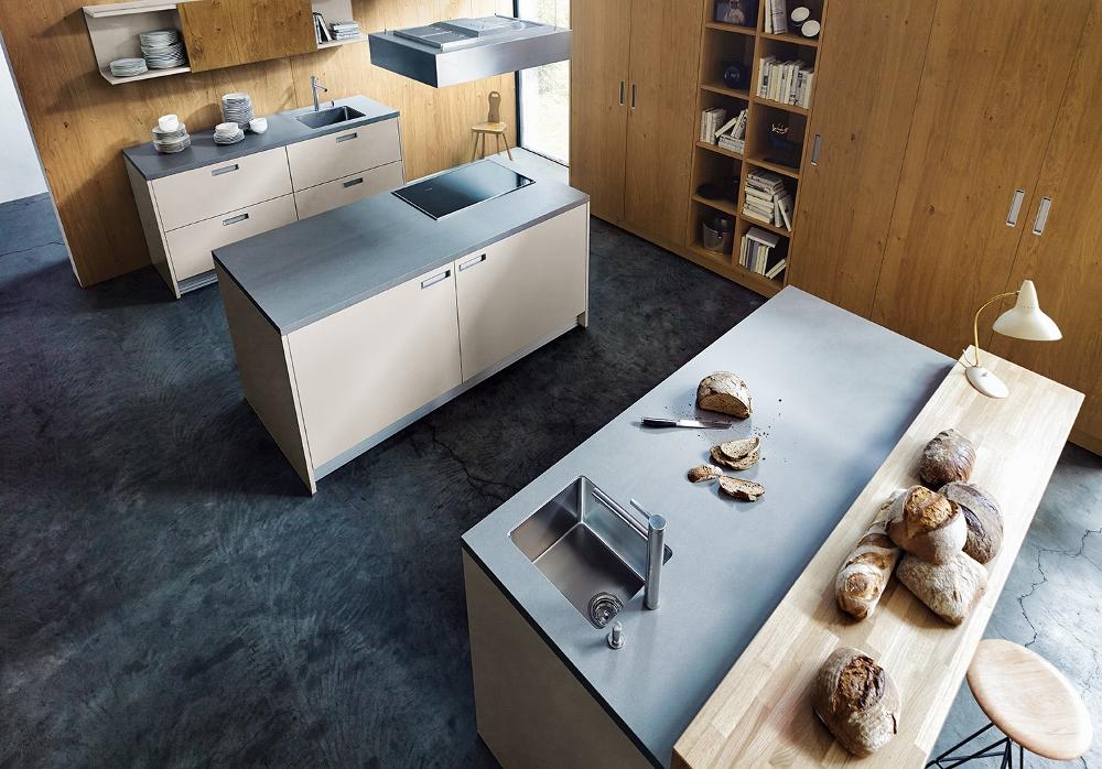 Modern design - keuken NX502 in zandgrijs met warm eiken next125
