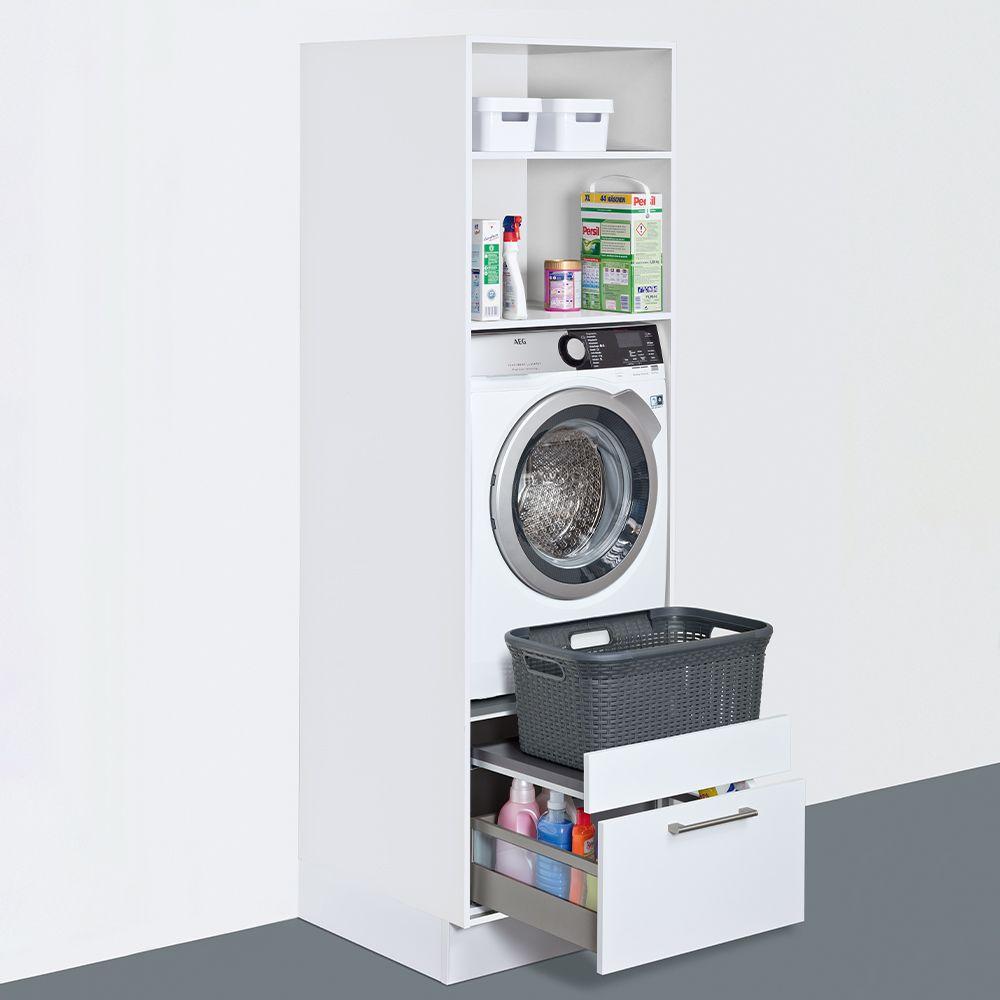 Kast voor wasmachine, wasbenodigdheden opbergen #bijkeuken #kast #wasmachine