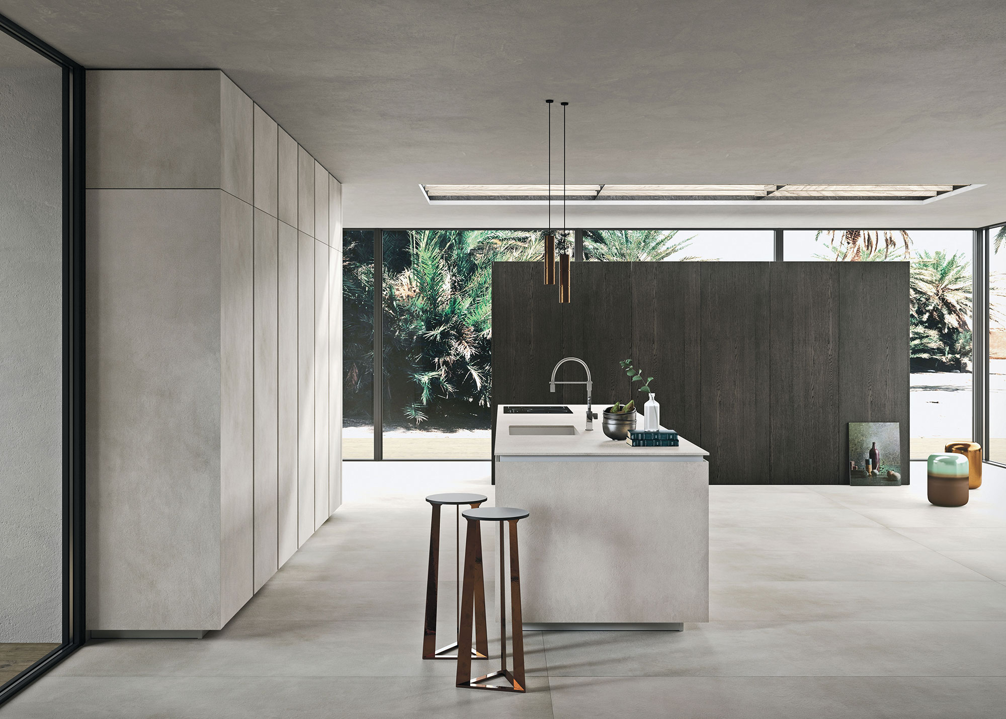 Italiaanse designkeuken Snaidero Way Materia. Moderne greeploze keuken in lichte kleur kalk 'calce' grijs #design #designkeuken #snaidero #madeinitaly #keuken