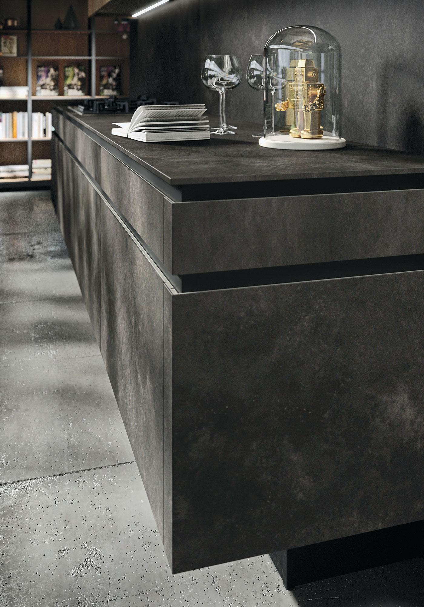 Italiaanse designkeuken Snaidero Way Materia. Moderne greeploze keuken in donkere kleur #design #designkeuken #snaidero #madeinitaly #keuken