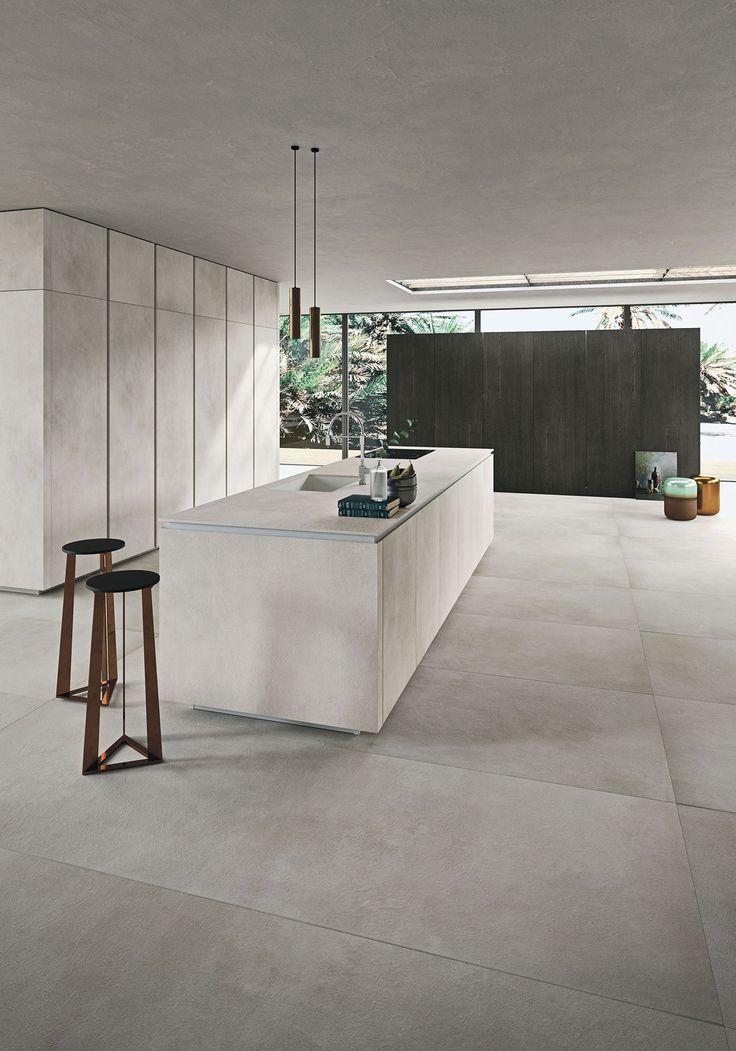 Italiaanse designkeuken Snaidero Way Materia. Moderne greeploze keuken in lichte kleur 'calce' grijs #design #designkeuken #snaidero #madeinitaly #keuken