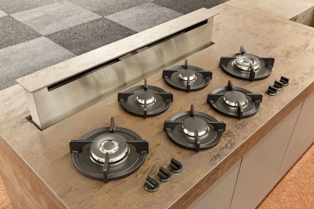 Wave Design downdraft afzuigkap met pitt cooking