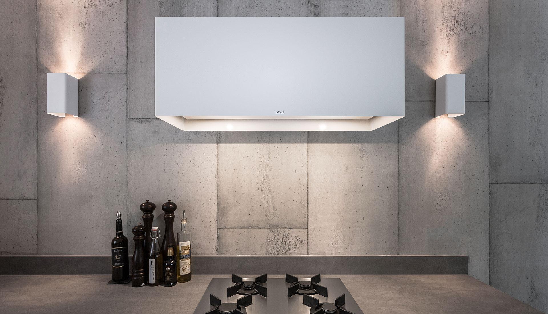 wave design afzuigkap met bijpassende design verlichting keuken design verlichting