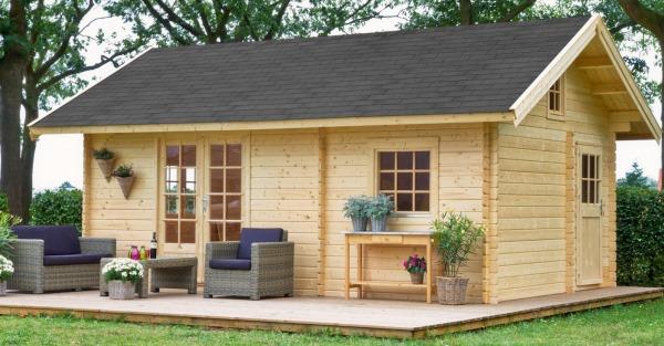 Blokhut in de tuin als tuinkantoor, gastenverblijf, weekendverblijf of mantelzorgwoning. Van Kooten blokhutvillage