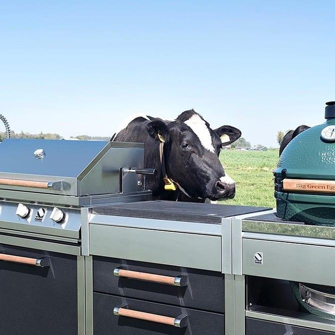 Steel buitenkeuken met luxe gasbarbecue en Big Green Egg #barbecue #buitenkeuken #greenegg