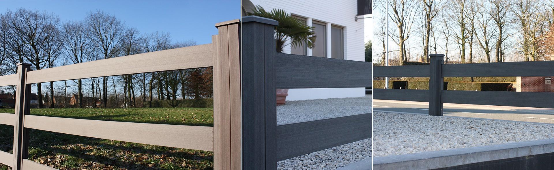 Schuttingen terrasplanken van houtcomposiet nieuws for Moderne afsluiting tuin