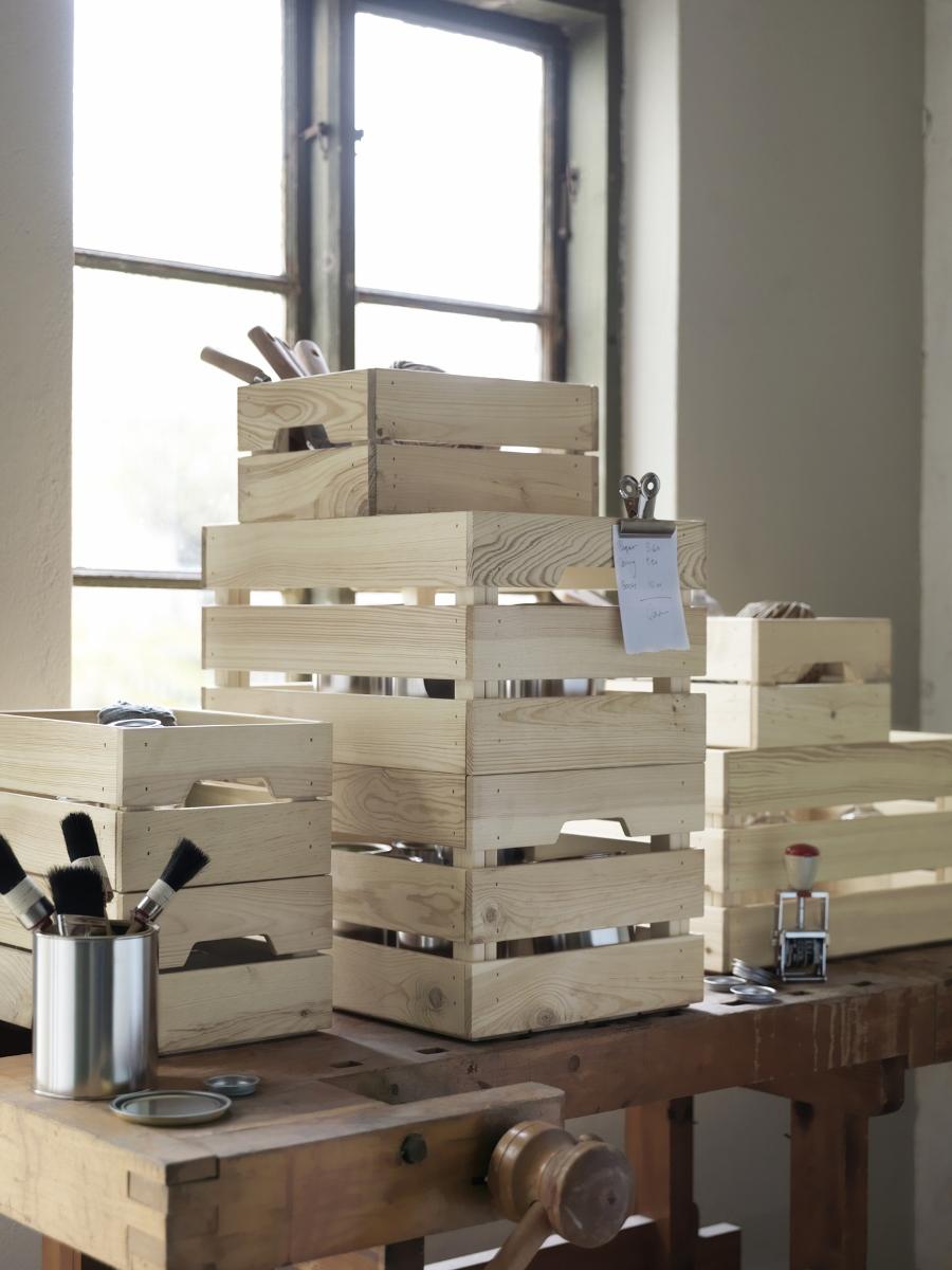 houten opbergkratjes voor binnen en buiten - Ikea Knagglig  #vintage