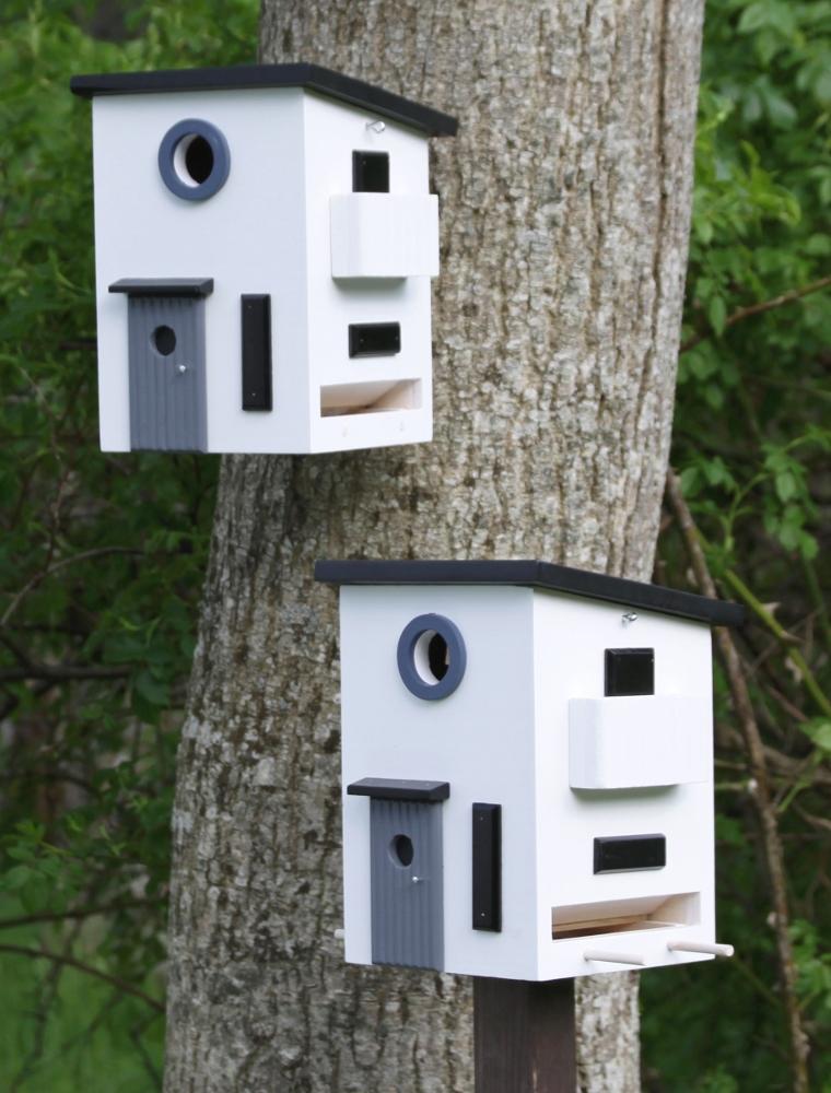 Vogelhuisjes voor de tuin van het Zweedse wildlife Garden