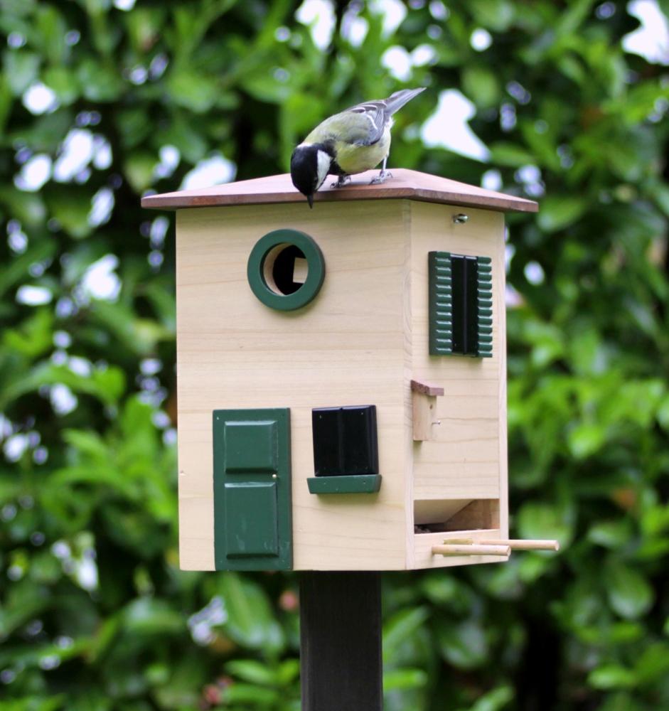 Vogelhuisje op paal van het Zweedse wildlife Garden