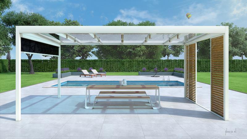 Losse overkapping in de tuin van Jumbo Leefcomfort met strak en minimalistisch design #tuin #overkapping #terras